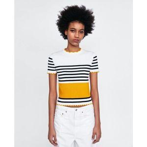 Zara Knit Scalloped Striped Ribbed Shirt Yellow S
